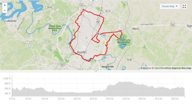 March 20 Strava map of 53 mile ride