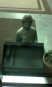 Buddha and empty cash drawer