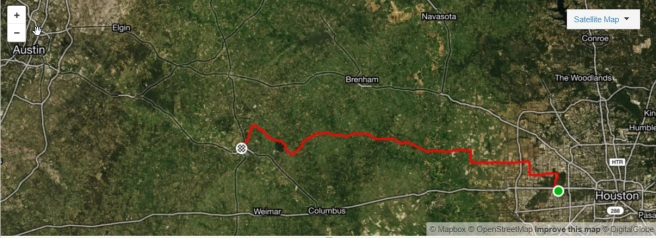 BP MS 150 Day 1 Houston to La Grange Strava map