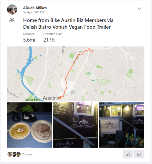 Bistro Vonish Strava ride and pics