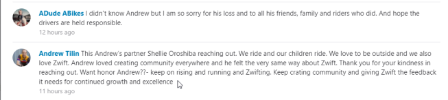 Tilin's partner's Strava message
