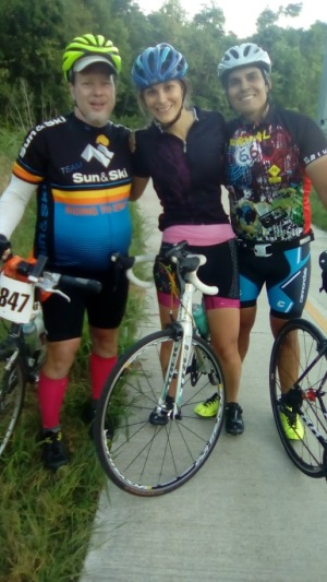 A Dude, Jenni and Rafael at end of 202-Mile MS 150 weekend April 2017