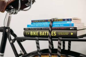 books on bike rack