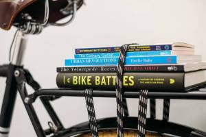 books on bike rack