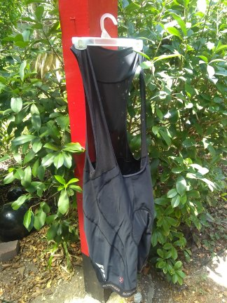 The bib shorts right side out.