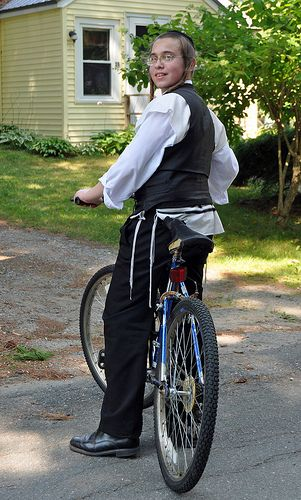 young hasidic jew on bike