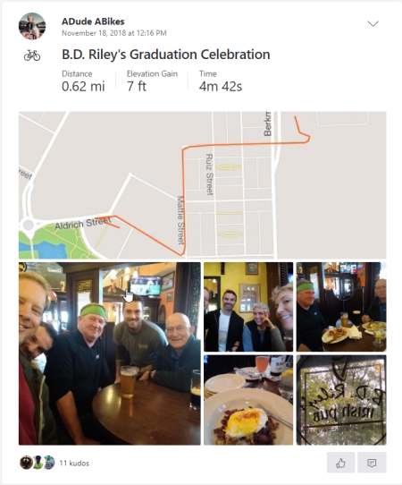 BD Riley's graduation celebration