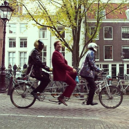 Anchorman and Daft Punk on a three-person bike!