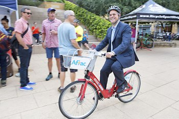 Mayor Adler on a bike