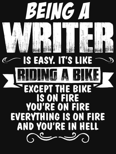 being a writer and biking